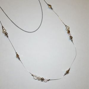 Jewelry - Silver Crystal and Pearl Bead Layer Necklace